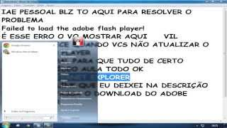 Corrigindo o erro Failed to load the adobe flash player!