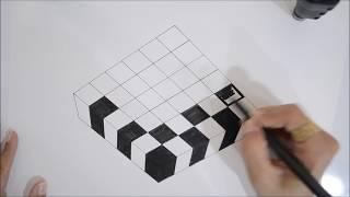 3d Cube - 3D trick art on paper