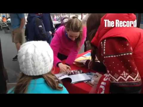 Sarah Hughes, an Olympic gold medalist/skater, signed autographs and met with people today at the Em