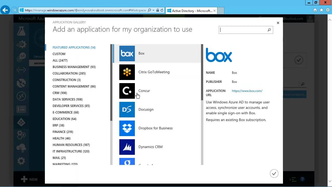 Microsoft Azure: Adding Gallery Applications to Azure Active Directory
