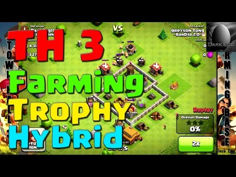 Clash of Clans: Town Hall 3 Farming, Trophy, Hybrid Bases