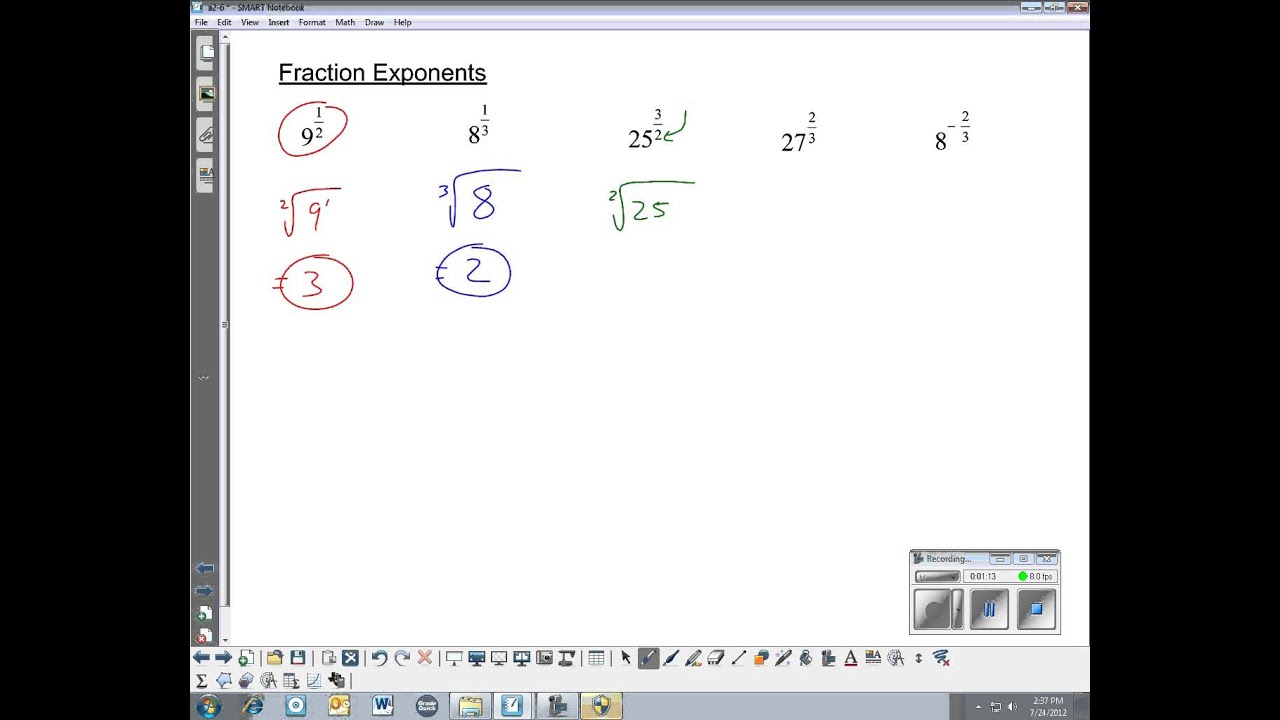 how to do fraction exponents without a calculator
