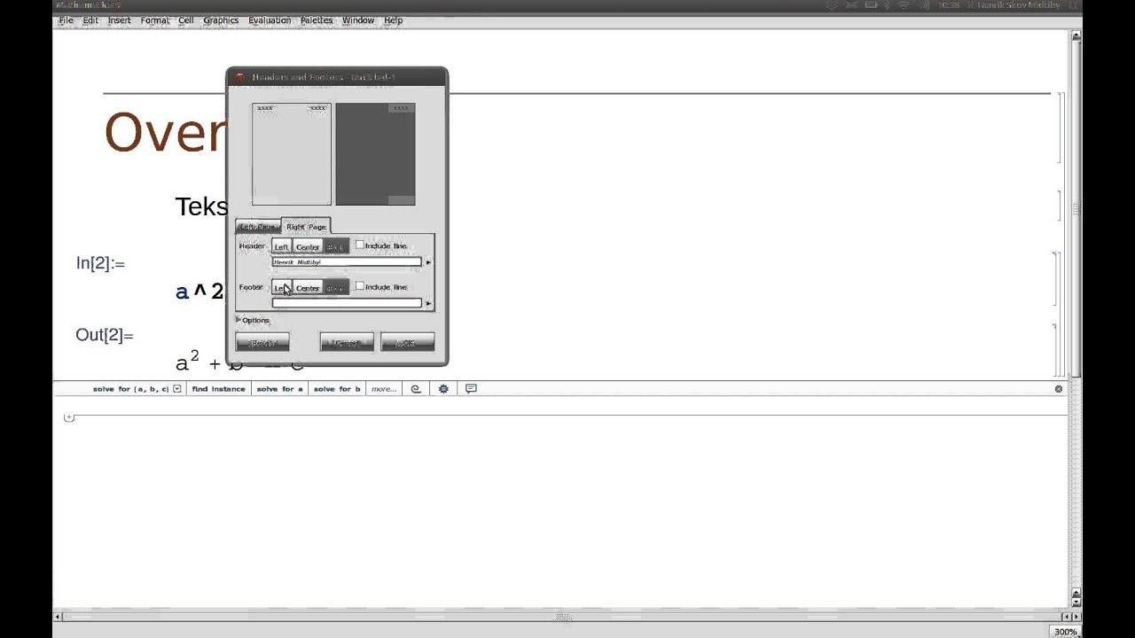 Opsætning af sidehoved og eksport til pdf