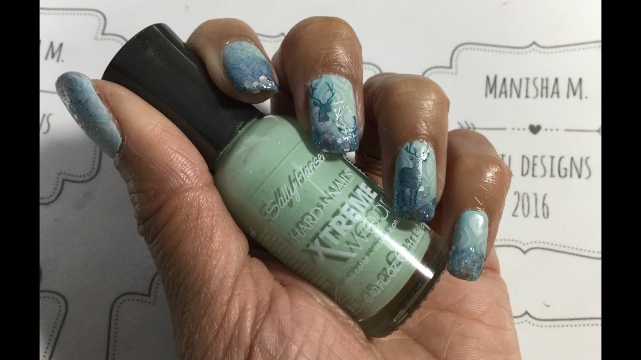 """double stamped stag"" nail art"