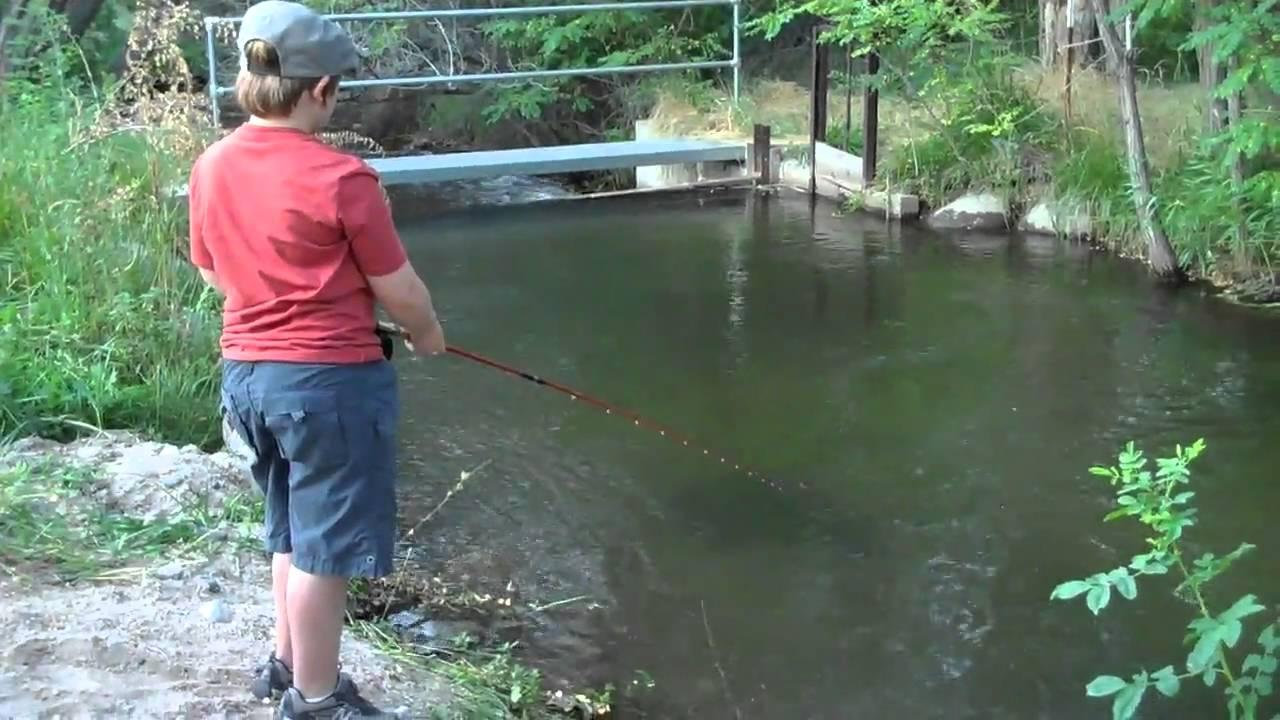 7yr old fishing the bishop creek in the backyard youtube for Bishop creek fishing