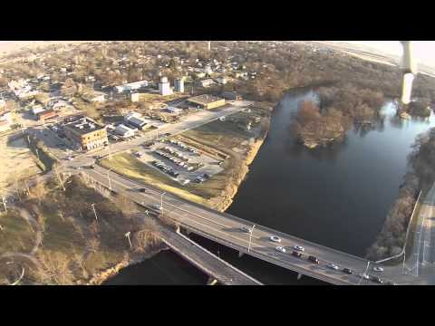 DJI Phantom FC40 Flight Over Downtown Oswego, IL Park