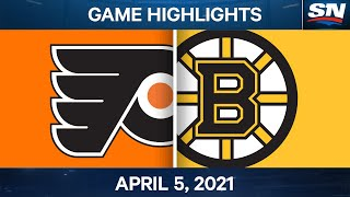 NHL Game Highlights | Flyers vs. Bruins - Apr. 5, 2021