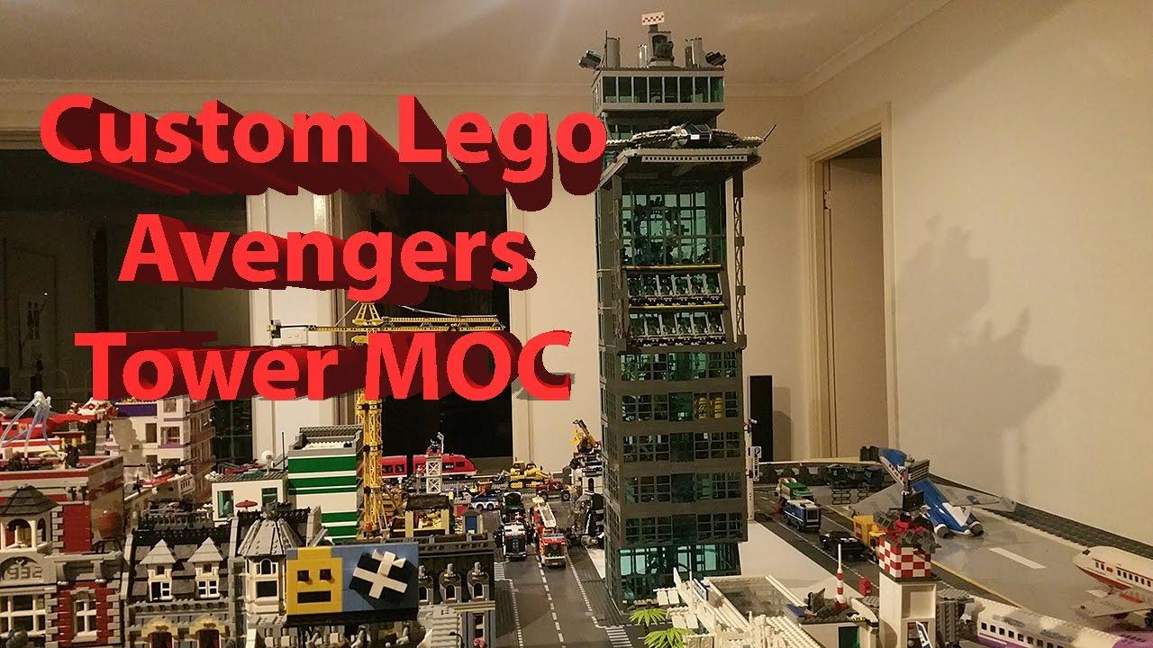 Custom lego avengers tower moc completed youtube for Tour avengers