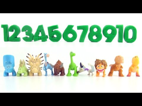 Counting to 10 Good Dinosaur Toys PlayDoh - Learn to Count 10 dinosaurs