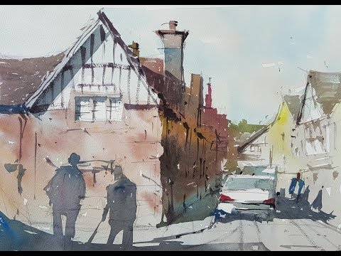 Plein air painting - How it's done. A watercolor demo of an English village street scene #29