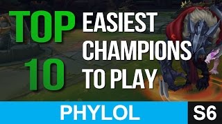 top 10 easiest champions in league of legends