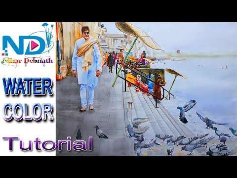 Watercolor painting  time lapse Varanasi Ghat landscape with Amitabh Bachchan