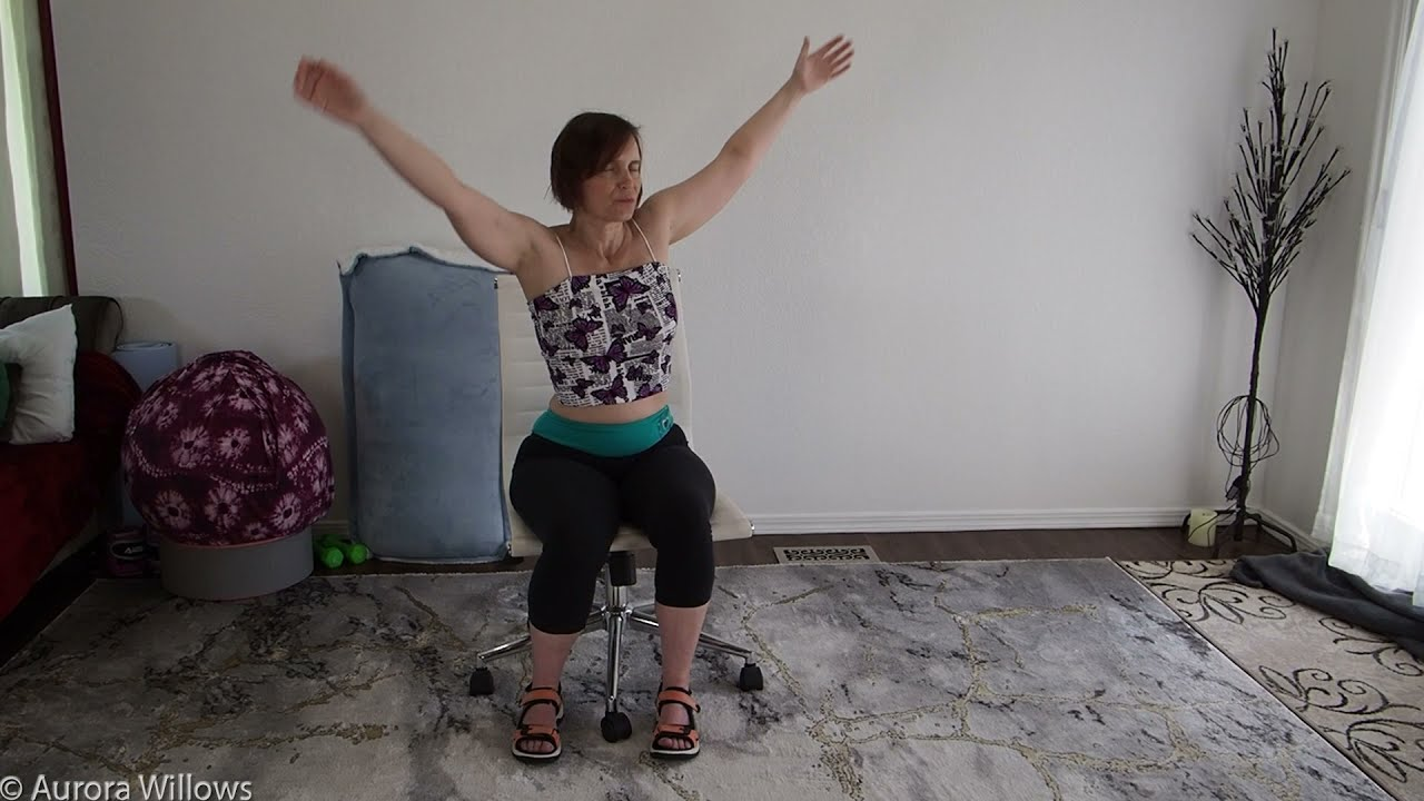 Daily mobility 33 Easy chair stretches shoulder work and stretching out the spine and hips easy flow