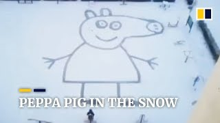 Chinese dad draws giant Peppa Pig in snow for daughter