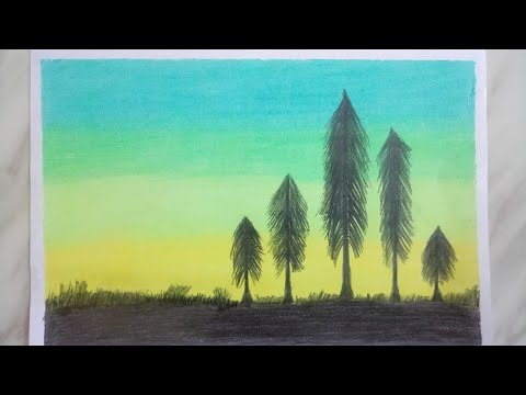 Simple scenery painting for beginners. / Easy landscape painting for kids