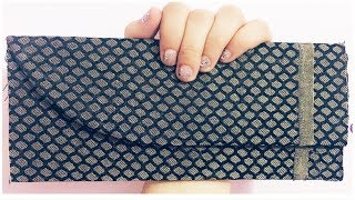 DIY Fabri & Cardboard clutch / Diy clutch purse no sew /Diy clutch purse at home