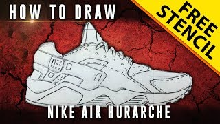 How To Draw: Nike Air Huarache w/ Downloadable Stencil