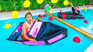 TODAY WE COMPETE IN THE BATTLESHIP CHALLENGE IN REAL LIFE - LAST BOAT TO SINK WINS $10000 DOLLARS! In today's video, Lizzy Sharer, Carter ...