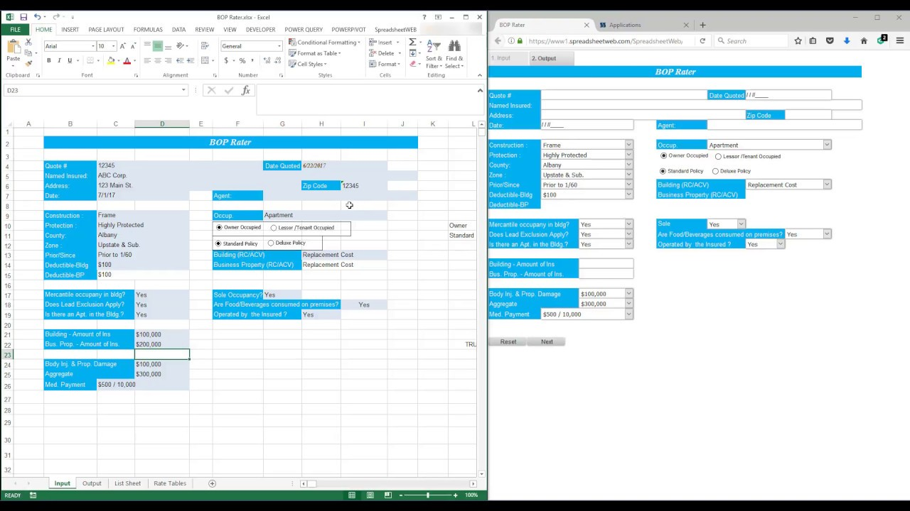 turning an excel based quoting tool into a web based application with database