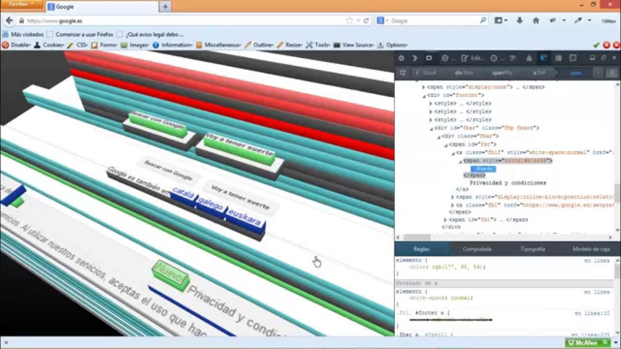 visor 3d de paginas web Firefox - YouTube