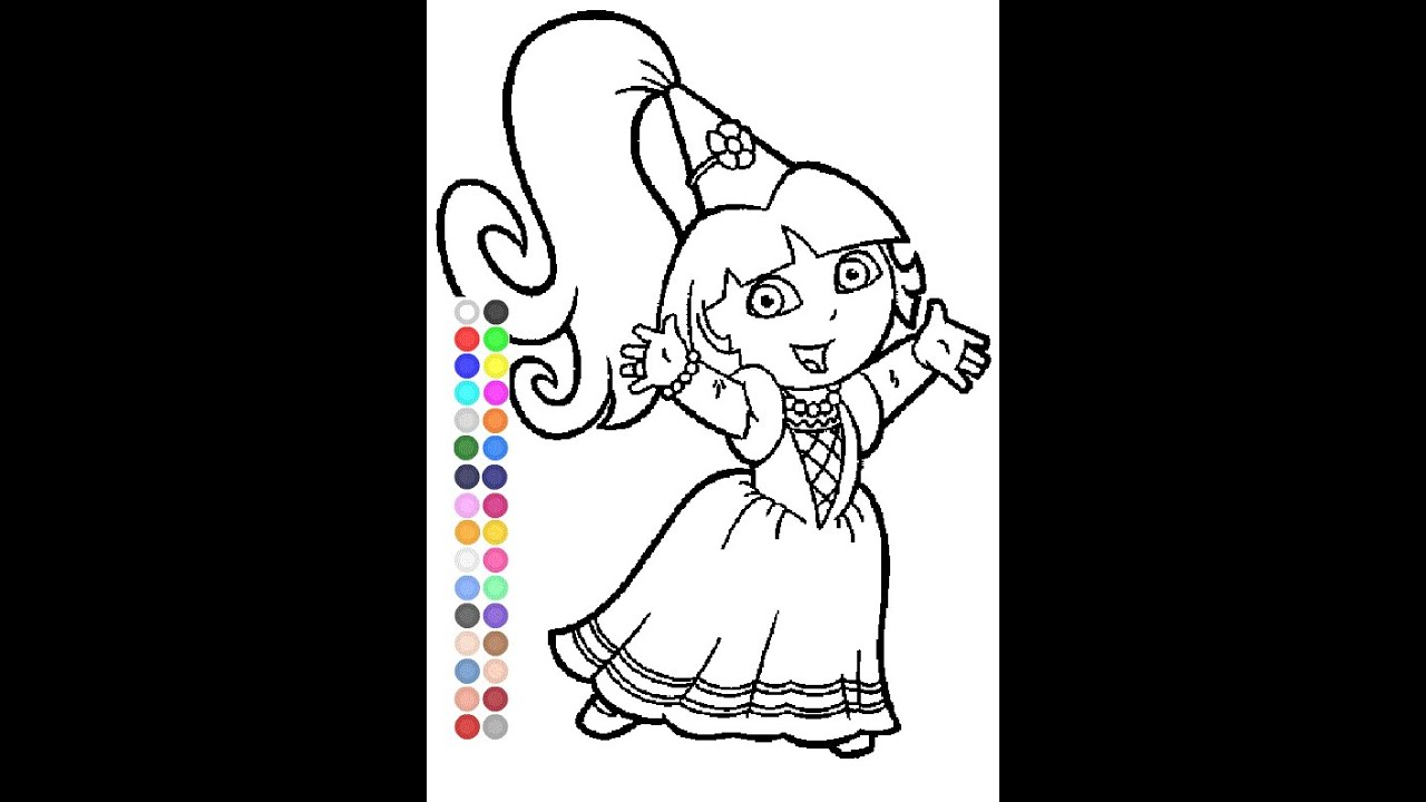 dora coloring pages games - dora coloring games dora fairytale coloring pages youtube