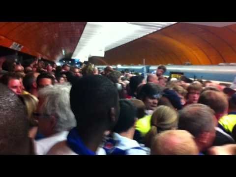 Chelsea fans in Munich chanting at tube station before the game