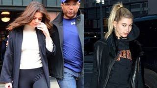 Whoa! these two keep having awkward run-ins don't they? did justin bieber's girls, selena gomez and hailey baldwin, spend the super bowl together in nyc?