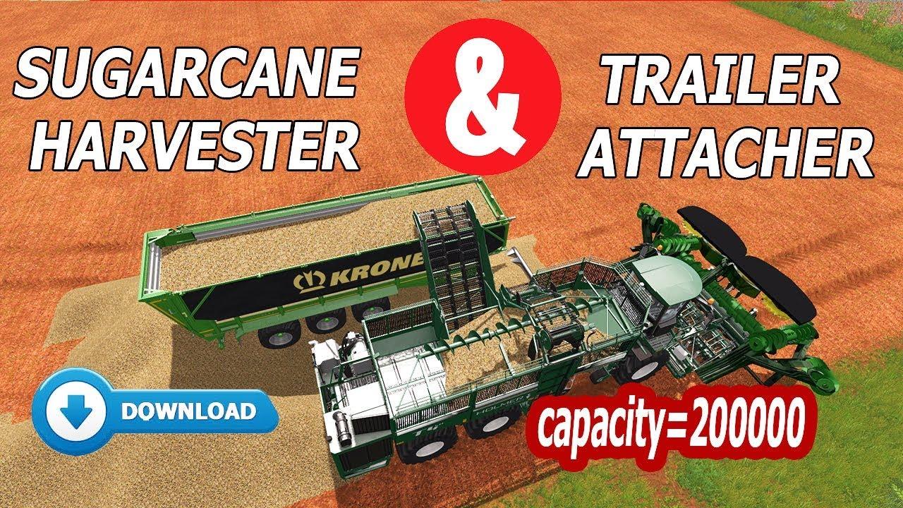 Farming Simulator 17: 2 in 1 - Holmer Sugarcane Harvester + Trailer  Attacher - Link