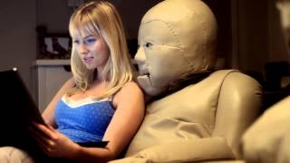 Sexy girl with hot living chairs... Very funny