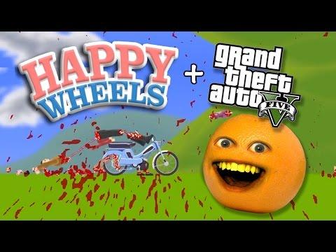 Annoying Orange Plays GTA Happy Wheels!!!
