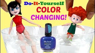 D.I.Y. Color Change MAVIS & DENNIS Hotel Transylvania 3 w/ Mood Nail Polish, Easy Kids Craft
