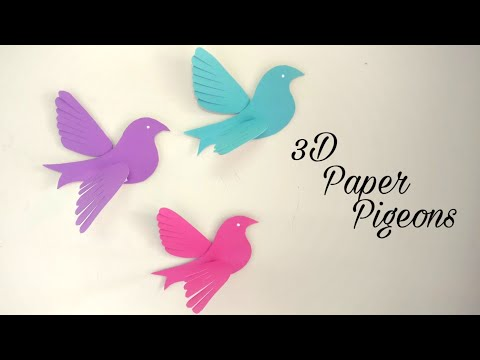 How To Make 3D Paper Pigeons | DIY | Paper Birds Making | Wall Decor