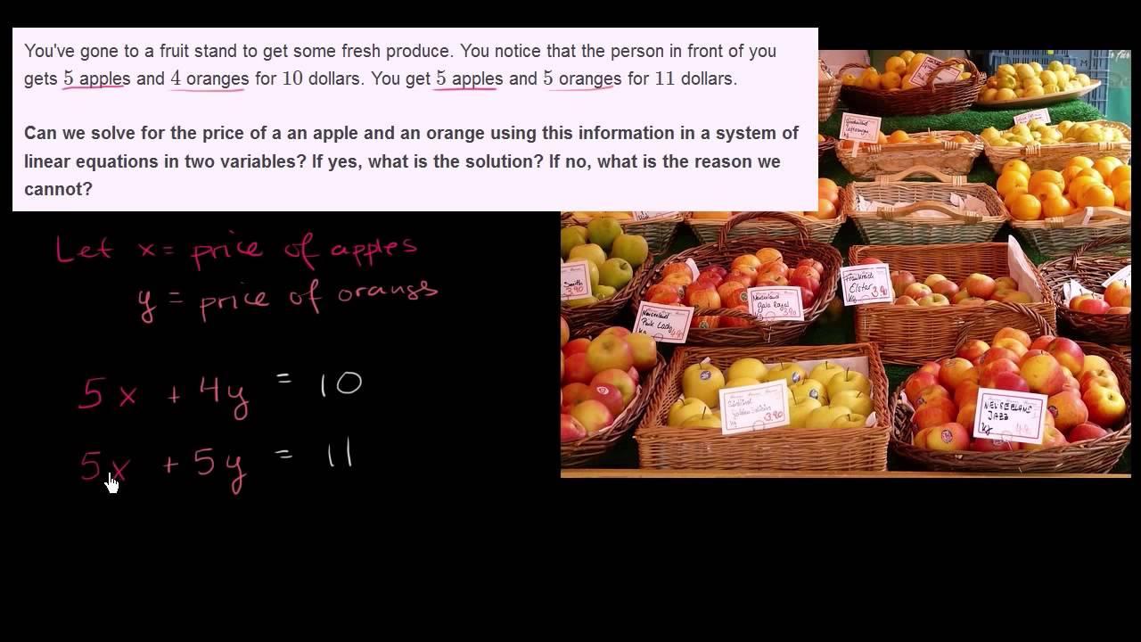 Bruger ligningssystem til at finde æblers og appelsiners pris