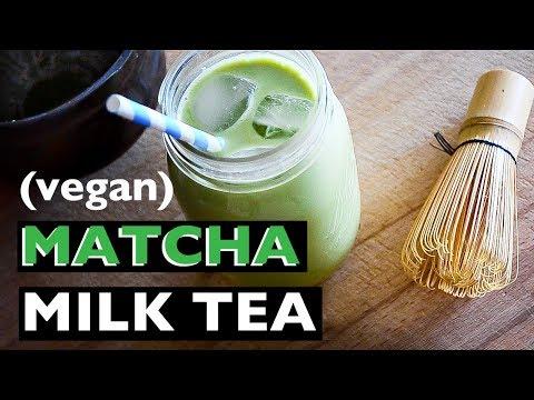 EASY VEGAN MATCHA MILK TEA RECIPE | VEGAN MATCHA LATTE | BEST VEGAN HOW TO RECIPES