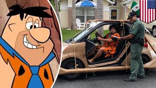Fred Flintstone stopped for speeding in Florida - TomoNews