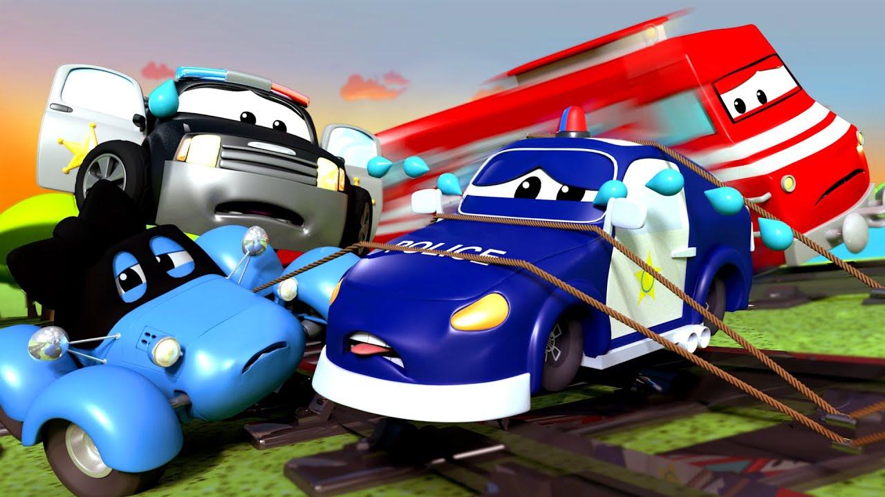 Patrol Policyjny - Przywiązany do Torów! - Miasto Samochodów 🚓 🚒 Bajki Dla Dzieci #1
