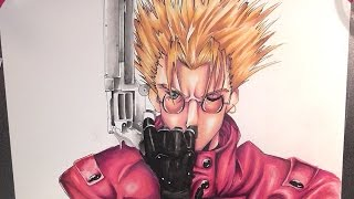 Drawing Vash the Stampede from Trigun トライガン [Watercolor painting]