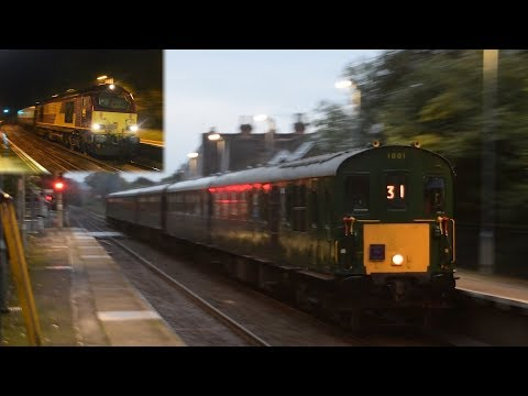 Evening Diesels - 1001 and 67030 head through Surrey and Hampshire - 30/09/17