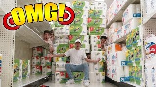 WORLDS BIGGEST TOILET PAPER FORT EVER IN TARGET (INSANE TOILET PAPER FORTRESS)