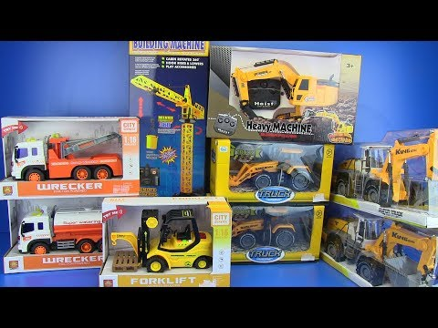 Trucks Toys for kids | Excavator, truck, crane,forklift ,bulldozer, road roller  Video  for children