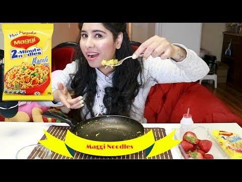 Legendary Maggi Noodles 🍜 Strawberries 🍓 Mukbang