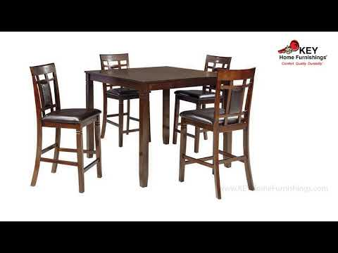 Ashley Bennox Counter Height Dining Room Table And Bar Stools Set Of 5 D384 223 Key Home