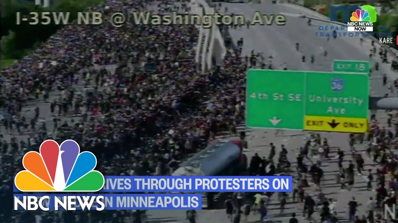 Watch: Semi-Truck Drives Into Crowd Of Protesters On I-35 Minneapolis | NBC News thumbnail