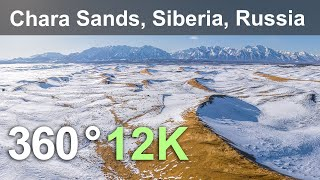 Chara Sands. Relax Flight Above Siberian Desert, Russia. Aerial 360 Video In 12K
