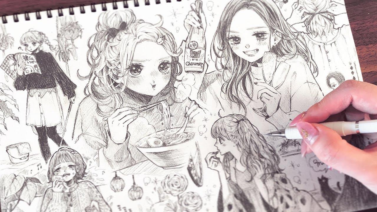 【アナログ】第2弾❤️おうちで過ごす女の子1ページいっぱいに描いてみた🏡✨Drawing girls spending time at home Part2【メイキング】