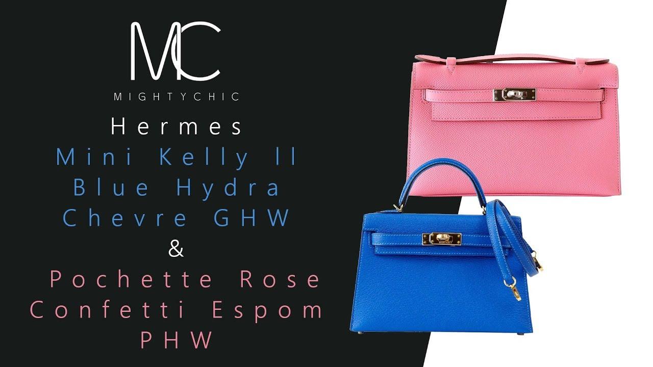 13e17b61bc83 MIGHTYCHIC • Hermes Mini Kelly ll Blue Hydra Chevre GHW Hermes Pochette  Rose Confetti Espom PHW