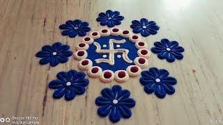 Beautiful & Colourful  Flowers And swastik Rangoli Design // Diwali Special