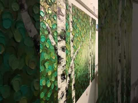 STUDIO VISIT – Painting an abstract aspen and birch tree landscape with acrylic paint on canvas