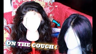 Making A Lace Frontal Wig On My Couch !   Ali Julia Hair