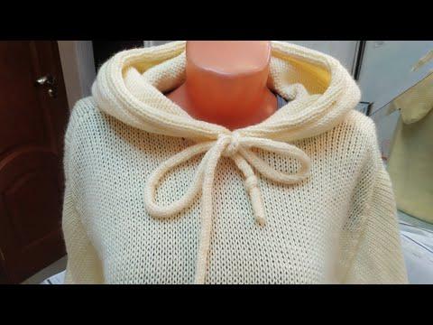 Пуловер - худи с капюшоном \ Это очень просто \ Свяжет даже начинающий